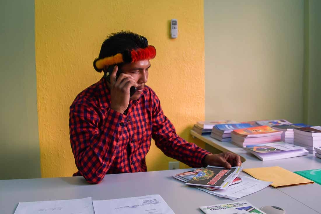 Jawaruwa Waiapi, city councilman of Pedra Branca do Amapari city, works at his office, in Amapa state in Brazil, on October 12, 2017.