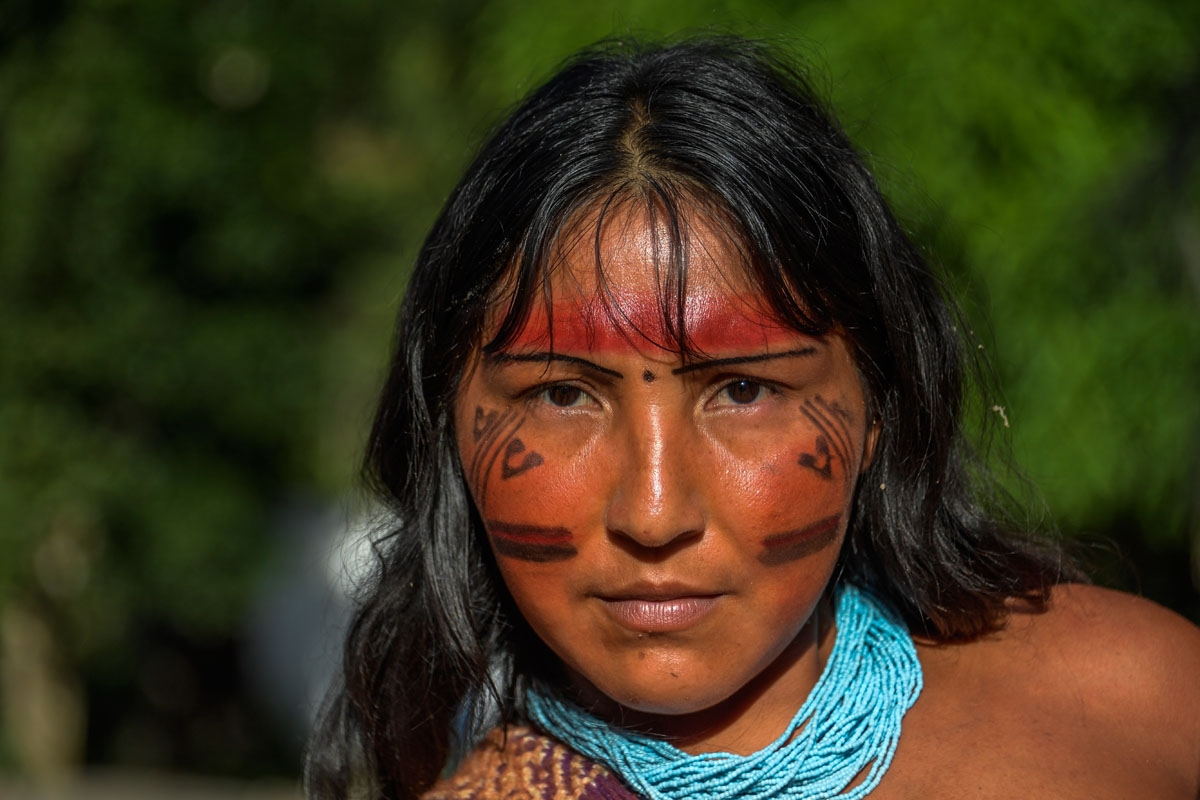 Portrait of Kurija Waiapi in the Waiapi indigenous reserve in Amapa state in Brazil on October 14, 2017.  The tiny Waiapi tribe is resisting moves by the Brazilian government to open the region of pristine rainforest known as Renca, National Copper Reserv