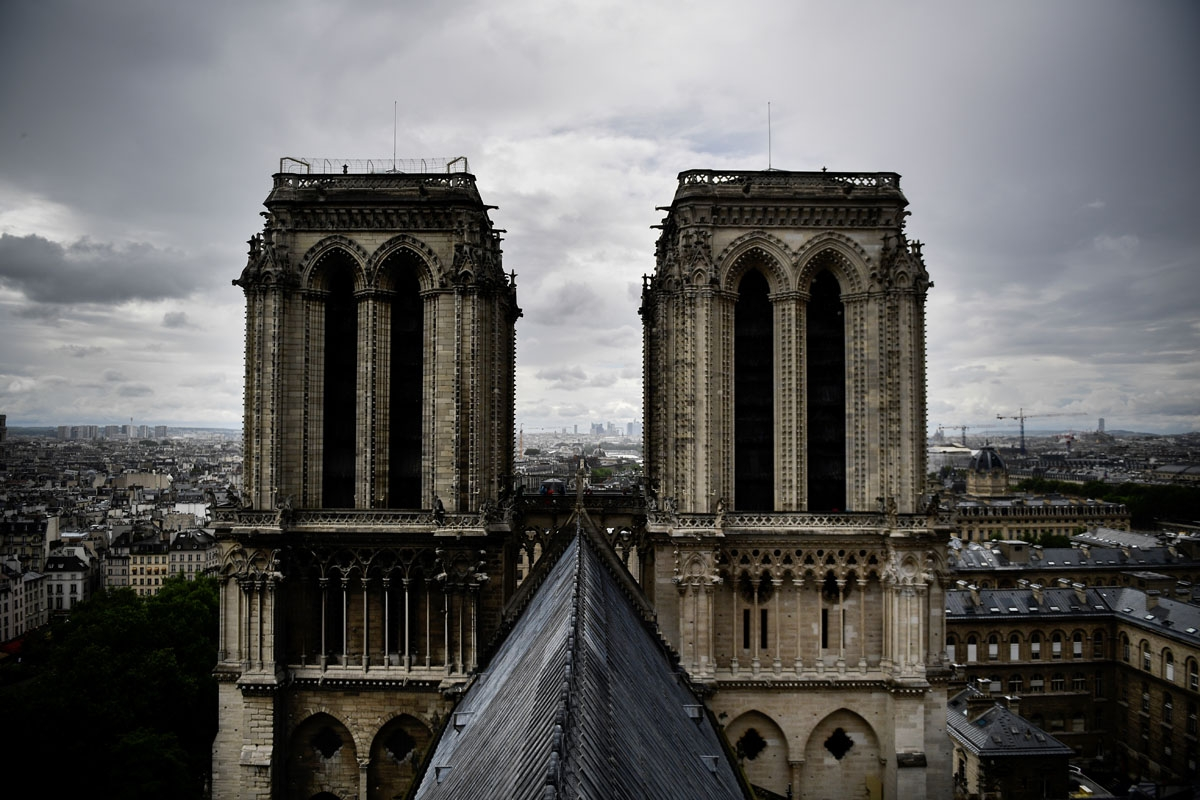 A picture taken on June 28, 2017 shows the roof of Notre-Dame cathedral in Paris, as the monument needs a huge restoration
