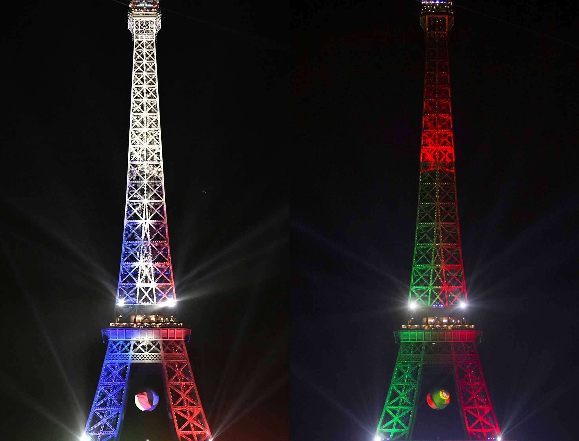 (COMBO) This combination of pictures created on July 8, 2016 shows the Eiffel Tower lighted with the colors of the French National flag on July 7, 2016 (L) and Portugal flag on July 1, 2016.  France and Portugal will play the UEFA EURO 2016 final on July