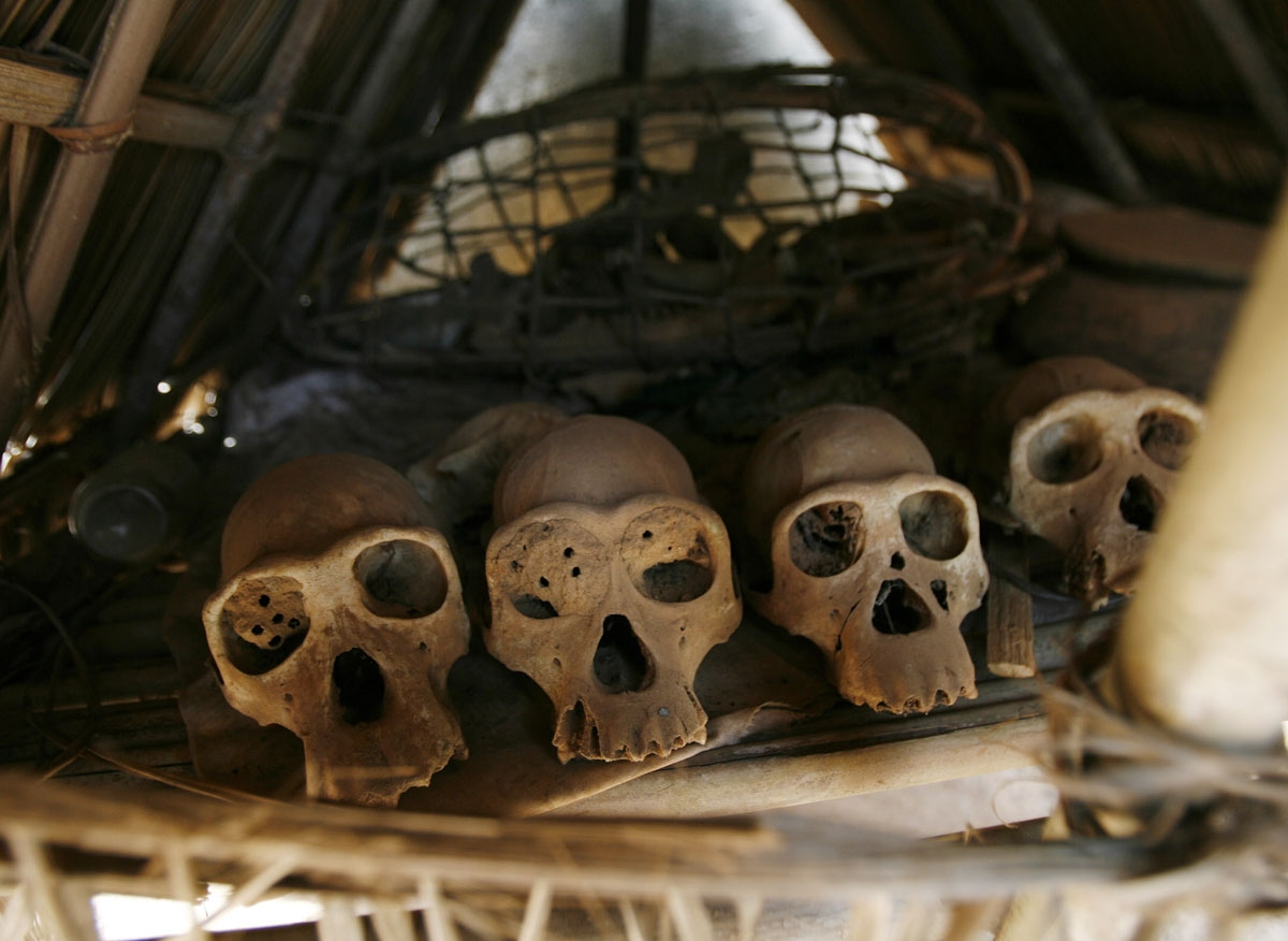 The director of the Wild Chimpanzee Foundation (WCF), Ilka Herbinger (not pictured), shows chimpanzee skulls at the home of a family, which worships chimps, in the village of Douably on March 19, 2008 in the Tai National Park, 400 kms west of Abidjan, whe