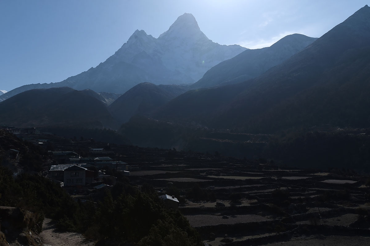 Mount Ama Dablam (6812 metres) as seen from the Pangboche village in the Everest region, April 27, 2018.