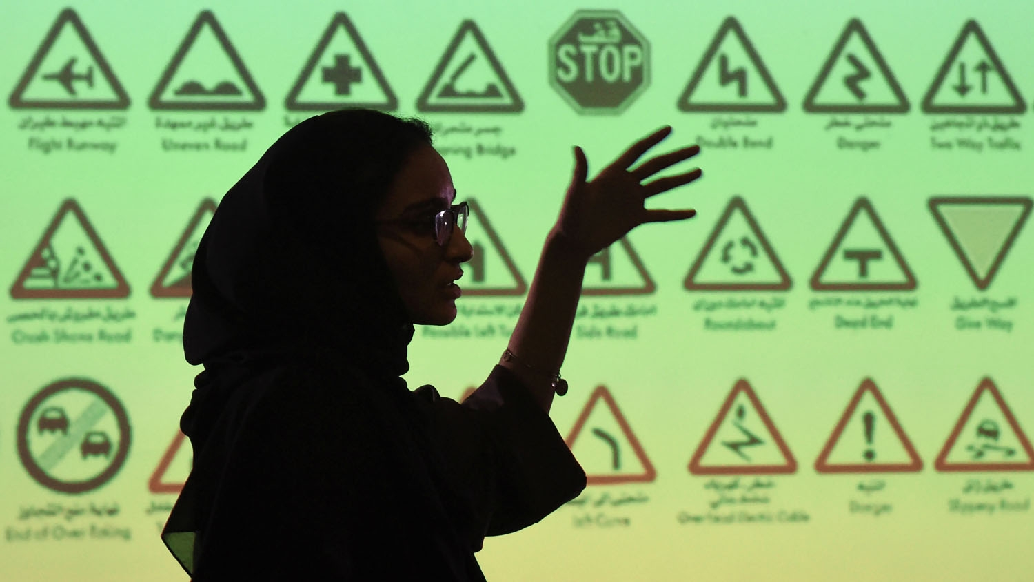 An employee of Careem, a chauffeur driven car booking service, talks during a training session for new female drivers, known in the company as captains at their Saudi offices in Khobar City, some 424 kilometres east of the Saudi capital of Riyadh, on Octo