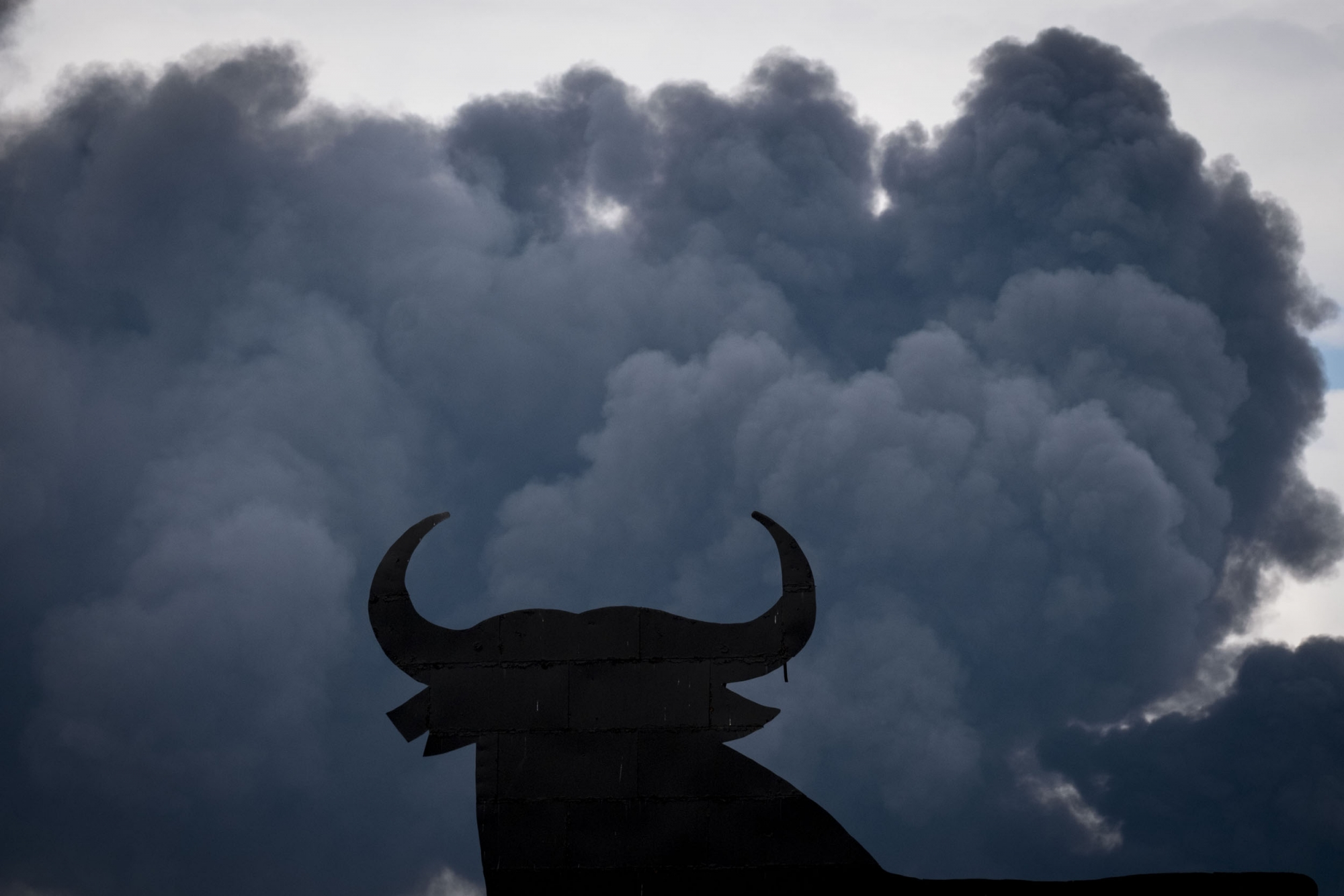 The shape of an Osborne Bull is pictured with black clouds of smoke on the background,  produced by tyres burning in an uncontrolled dump near the town of Sesena, after a fire brokeout early on May 13, 2016