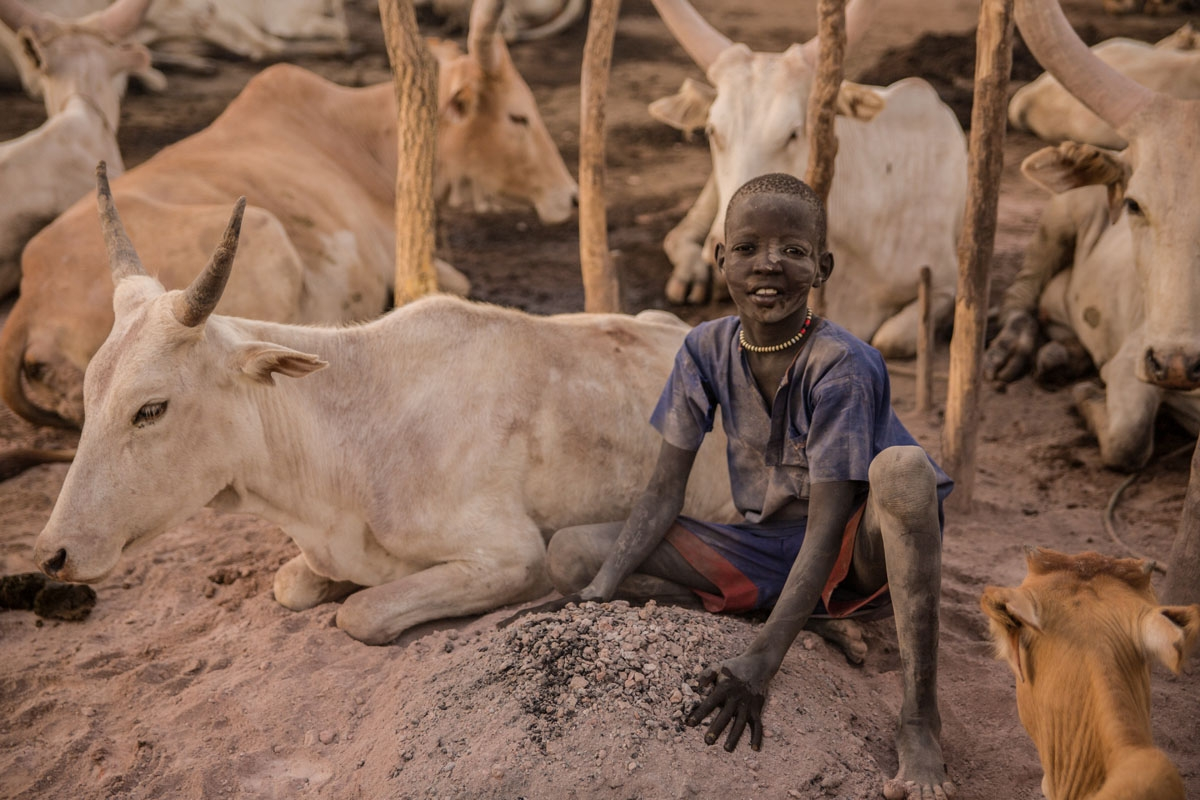 A Sudanese boy from Dinka tribe poses next to cow in the early morning at their cattle camp in Mingkaman, Lakes State, South Sudan on March 4, 2018.
