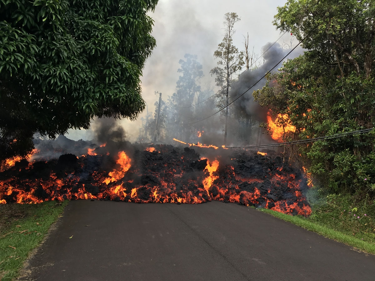A lava flow moved on Makamae Street in the Leilani estates subdivision in the morning of May 6, 2018.