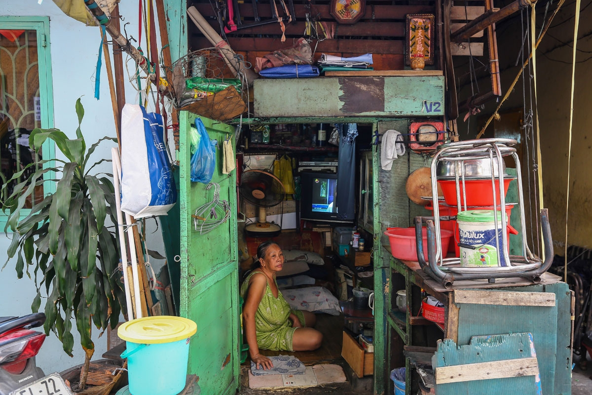 Kha Tu Ngoc is seen in her two-square-meter house in Ho Chi Minh City on May 2, 2018.